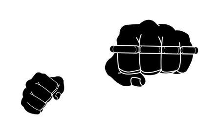 felony: Clenched man fists holding brass-knuckle. Punching. Black and white isolated illustration