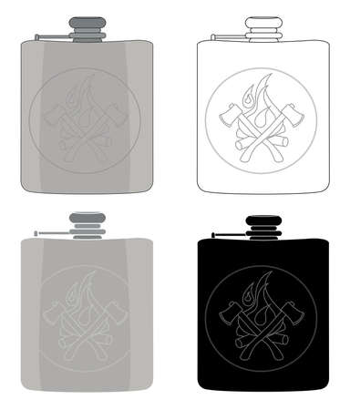 hip flask: Realistic silver drinking flask icon set. Color, contour, black and white