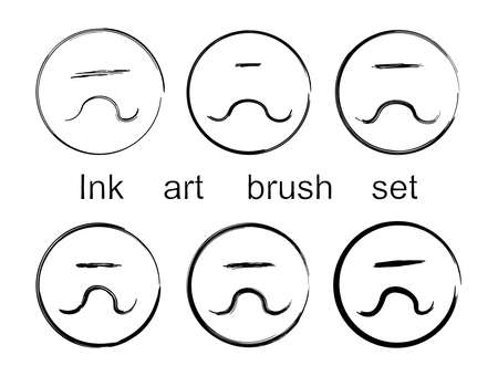 ink art: Ink art brush set. Vector isolated on white