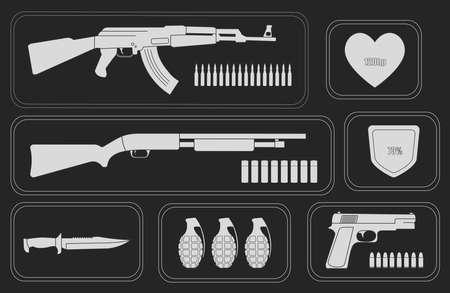 Army game resource set. Military soldier inventory: assault rifle, health bar, shotgun, shield bar, combat knife, grenade, pistol, bullets. Chalk illustration isolated on blackboard