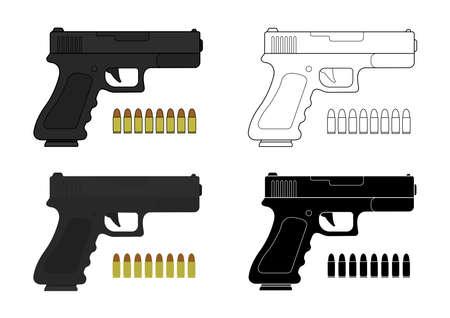9 mm pistola y balas. Color, contorno, silueta. Ilustraciones de arte Vector de imágenes aisladas en blanco