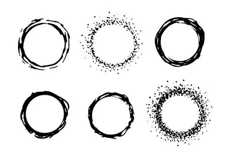 clip art: Vernice vettore cerchio cornici. Inchiostro nero clip art illustrazione isolato su bianco Vettoriali