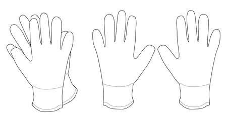 生地作業手袋のペア。輪郭線クリップ アート ベクトル イラスト白で隔離  イラスト・ベクター素材