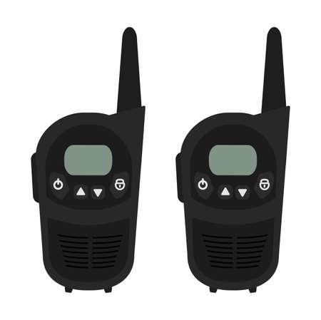 portable radio: Dos dispositivos port�tiles de radio vector conjunto m�vil de viaje negro. Color de clip art ilustraci�n aislado en blanco