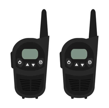 Two travel black portable mobile vector radio set devices. Color vector clip art illustration isolated on white