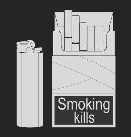 lighter gas: Cigarrillos Abra el paquete con el gas encendedor desechable. Chalk ilustraci�n del arte clip aislado en blanco