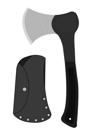 Sharp, rubberized handle small handy camping ax. Clip art vector no outline illustration isolated on white