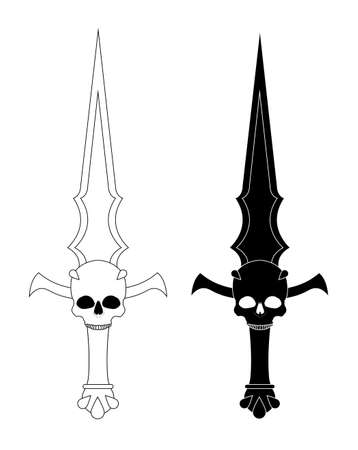 bloodshed: Ritual dagger. Sharp blade with skull. Black and white vector illustration isolated on white Illustration