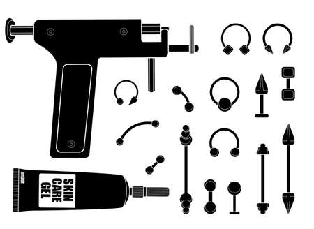 body piercing: Set of professional body piercing instruments: piercing gun, skin care cream, piercings collection. Black and white vector clip art illustration isolated on white