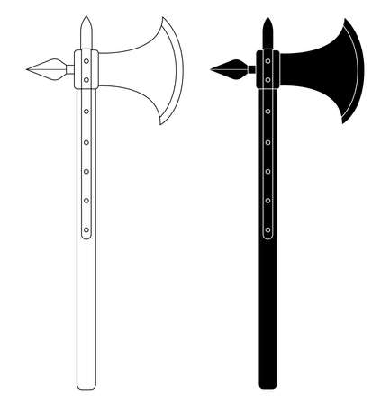 Medieval knight battle ax with armor pierce. Contour lines clip art vector illustration isolated on white Vector