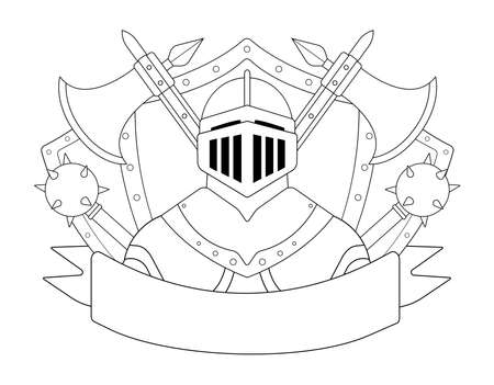 mace: Medieval knight logo. Helmet, armor, mace, ax, shield, sign. Vector contour lines clip art illustration isolated on white Illustration