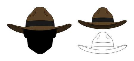 clip art: Wild west vecchio cappello di moda. Vector clip art a colori e delle linee di contorno illustrazioni isolato su bianco Vettoriali
