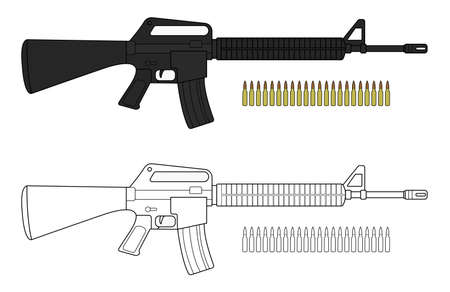 assault: Assault rifle with bullets. Video game resources. Vector clip art color illustration isolated on white