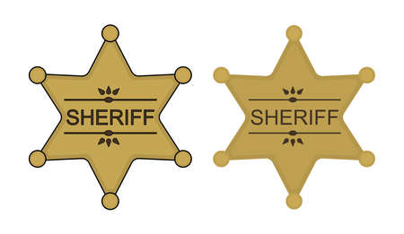 deputy: Wild west sheriff gold star badge icon. Vector clip art illustration isolated on white Illustration