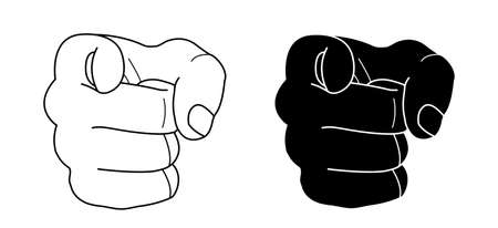 Fist with pointing finger. Contour lines, black silhouette. Vector clip art illustration isolated on white  イラスト・ベクター素材