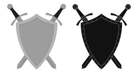 warrior sword: Two crossed swords steel shield heraldry emblem. Security logo. Clip art color and silhouette  vector illustration isolated on white