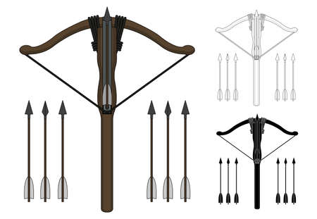 bowstring: Medieval knight archer crossbow with arrows set. Color, contour, silhouette. Clip art vector illustration isolated on white Illustration