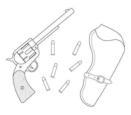 six shooter: Wild west wood handle revolver, leather holster, bullets. Vector contour lines clip art illustration isolated on white