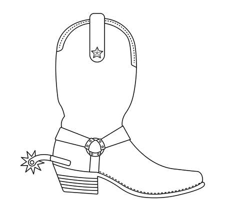 Wild west cowboy boot with spur and star. Contour lines vector clip art illustration isolated on white