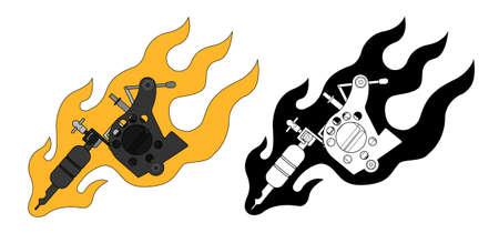 clip art: Macchine del tatuaggio in flame. Colore, bianco e nero. Illustrazioni vettoriali clip art isolato su bianco