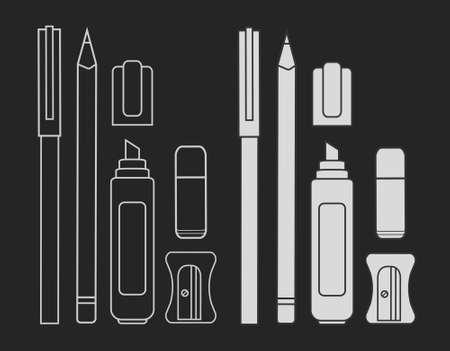chalk eraser: Stationery writing tools set. Pen, pencil, marker, eraser, sharpener. Vector chalk clip art illustration isolated on blackboard
