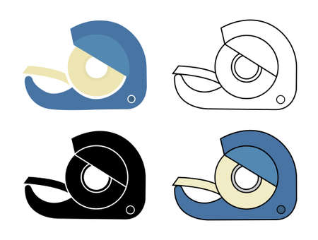 scotch: Scotch tape icons set. Vector clip art illustrations isolated on white