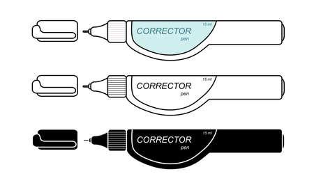 correttore: Cancelleria penna correttore bianco impostato. Colori, contorno, in bianco e nero. Clip art illustrazione vettoriale isolato su bianco Vettoriali
