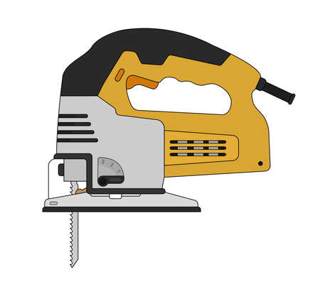 Electric carpentry jig saw tool. Vector clip art color illustration isolated on white