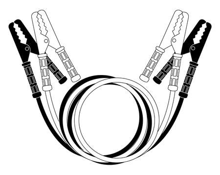cables: Car jumper power cables. Black and white wire clamps. Vector illustration isolated on white Illustration