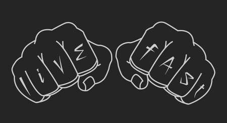 youth crime: Fists with live fast fingers tattoo. Man hands black vector clip art illustration isolated on white Illustration