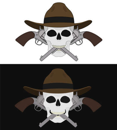 sicario: Cr�neo en el sombrero 2 cruz� pistolas emblema. Ilustraci�n del arte del vector clip de aislados en blanco y negro