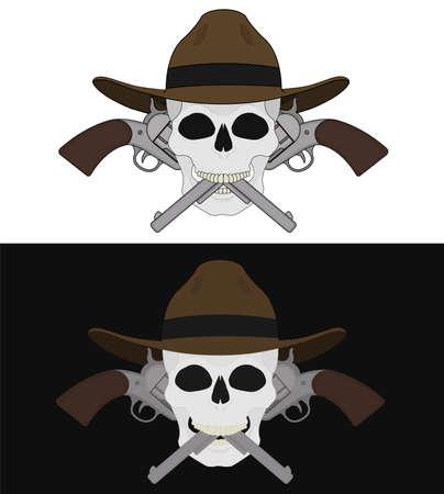 hitman: Skull in hat 2 crossed pistols emblem. Vector clip art illustration isolated on white and black Illustration
