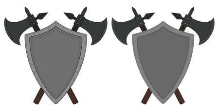 clip art: Due incrociate assi e scudo d'acciaio Emblema di araldica. Logo medievale. Arte clip colore illustrazione vettoriale isolato su bianco Vettoriali