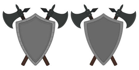 chivalrous: Two crossed axes and steel shield heraldry emblem. Medieval logo. Clip art color vector illustration isolated on white