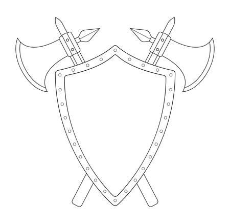 clip art: Due incrociate assi e scudo d'acciaio Emblema di araldica. Logo medievale. Arte clip illustrazione linee di contorno vettoriale isolato su bianco
