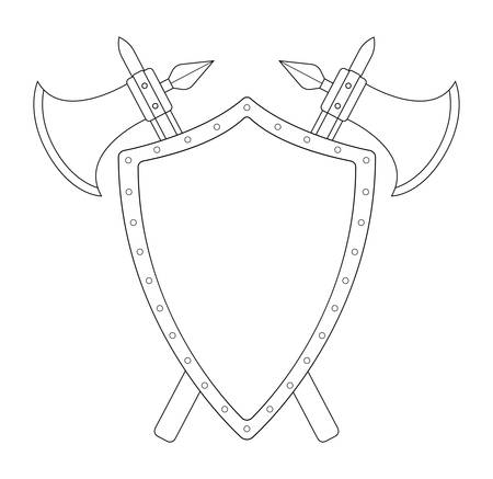 chivalrous: Two crossed axes and steel shield heraldry emblem. Medieval logo. Clip art contour lines vector illustration isolated on white