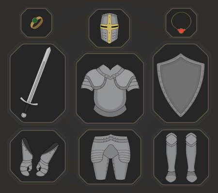 Game inventory. Knight armor set. Helmet, ring, necklace, sword, breastplate, shield, gloves, leggings, boots. Vector illustration