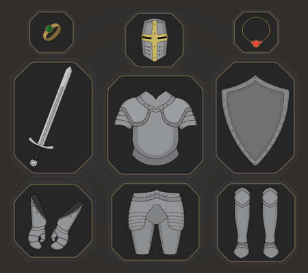 Game inventory. Knight armor set. Helmet, ring, necklace, sword, breastplate, shield, gloves, leggings, boots. Vector illustration
