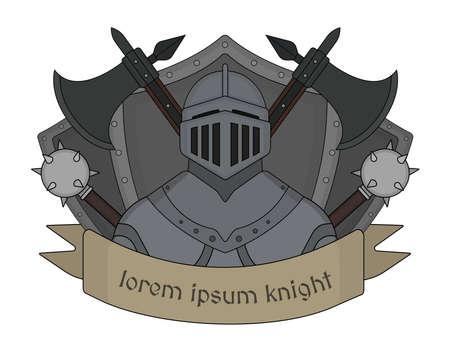 chivalrous: Medieval knight logo. Helmet, armor, mace, ax, shield, sign. Vector clip art illustration isolated on white Illustration