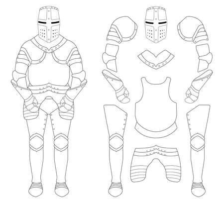 Medieval templar knight armor set. Helmet, shoulders, gloves, breastplate, leggings. Contour clip art vector illustration isolated on white Vectores