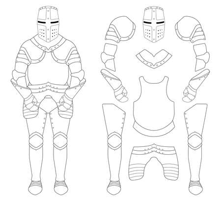 Medieval templar knight armor set. Helmet, shoulders, gloves, breastplate, leggings. Contour clip art vector illustration isolated on white Ilustração