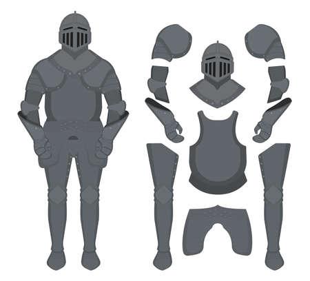 rycerz: Średniowieczny rycerz pancerz ustawiony. Kask, ramiona, rękawiczki, napierśnik, spodnie. Klip sztuki ilustracji wektorowych kolor wyizolowanych na białym