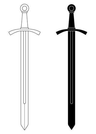 espadas medievales: Con una sola mano medieval caballero clip art espada ilustraci�n aislado en blanco. Contorno, blanco y negro