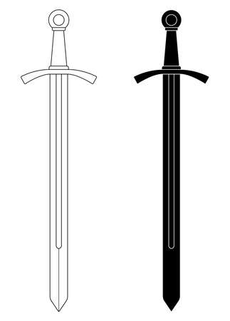 One-handed medieval knight vector sword clip art illustration isolated on white. Contour, black and white Vettoriali