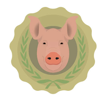 Butchery organic food vector eco logo. Big pink pig head in green stamp with laurel wreath. Color no outline vector illustration isolated on  white Vector