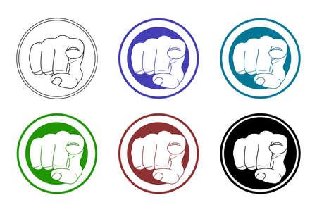 dedo indice: Se�alar con el dedo iconos conjunto. Ilustraciones de arte Vector de im�genes aisladas en blanco