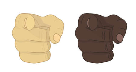 Fists with pointing finger. Vector clip art illustration isolated on white