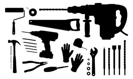 Construction tools silhouettes set: paint roller, insulating tape, hand saw, puncher, drill and bits, hammer, nails, pliers, screwdriver, measuring tape, wrench tools, working gloves Illustration