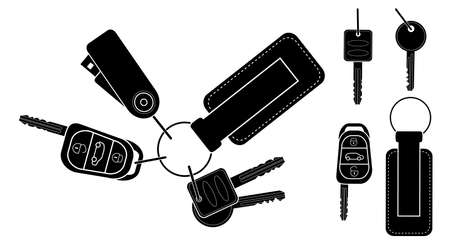 Set of realistic keys icons: remote car starter, usb flash drive, leather trinket, group of house keys. Black and white vector clip art illustration isolated Illustration