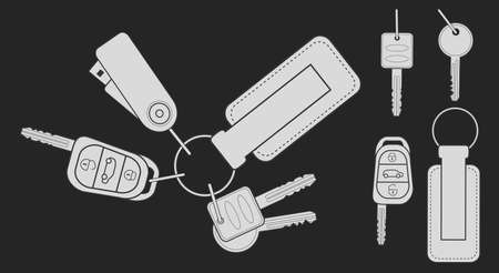 starter: Set of realistic keys icons: remote car starter, usb flash drive, leather trinket, group of house keys.Chalk vector clip art illustration isolated on blackboard
